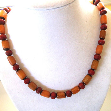Men's Eco-Friendly Beaded Necklace with Organic Beads, Brown and Red Natural Beads, Tribal, Surfer Wood & Buri Seed Beads, Handmade, Vegan