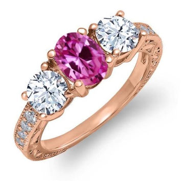 2.02 Ct Oval Pink Created Sapphire White Topaz 18K Rose Gold Plated Silver Ring