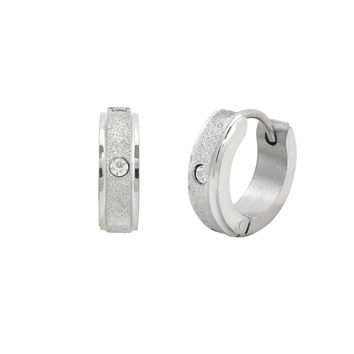 Stainless Steel Huggie Hinged Sparkle CZ Hoop Earrings 14mm
