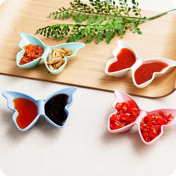 Japanese Style Butterfly Shape Wheat Straw Relish Plate Sauce Dishes Snack Dishes Plastic Plates 4pcs/Set Sushi Plate Dinnerware