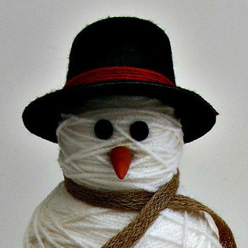 Table Top Snowman Decoration - Yarn Wrapped Snowman - Christmas Holiday Winter Home Decor - For Him, For her, Gift Idea
