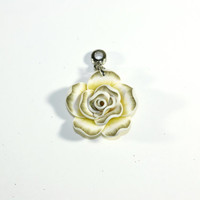 Yellow and White Rose Pendant: Large Clay Rose Flower Pendant Bead on Bail - Jewelry Supplies - Jewelry Making
