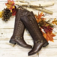 STERLING tall leather lace up boots -  brown