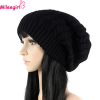 Mileegirl Fashion Women Casual Beanies Skullies,5 Colors Warm Stripes Knitted Gorros Bonnet Femme,Autumn Winter Hat Cap For Girl