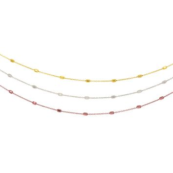 Silver Rhodium+Yellow+Rose Finish Diamond Cut Triple Strand Cable Chain Long Bead Fancy Necklace with Pear Shape Clasp