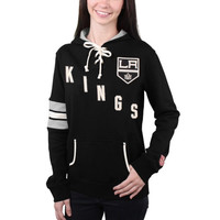 Los Angeles Kings Old Time Hockey Women's Nadia Lace-Up Pullover Hoodie – Black