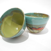 Ceramic Tea Bowl, Matcha Chawan, Ceramic Bowl - Handmade Pottery Turquoise Green and Red