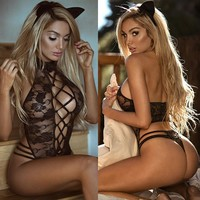 Sexy Women Caged Drawstring Lace Applique Lingerie Costumes