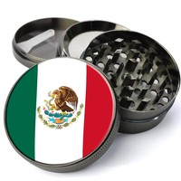 Mexican Flag Extra Large 4 Chamber Herb Grinder With Mesh Screen