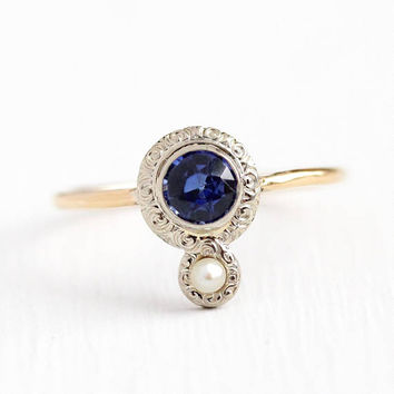 Created Sapphire Ring - Antique 14k Yellow & White Gold Pearl Stick Pin Conversion - Vintage Art Deco 1920s Size 6 3/4 Fine Jewelry