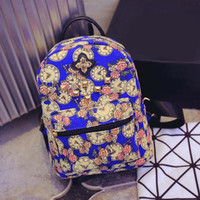 Vintage Retro Floral Printing Canvas Backpack Women School Bags for Teenage Girls Cute Bookbags Vintage Laptop Backpacks Female