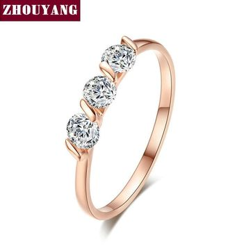 Concise Crystal Ring Rose Gold Color