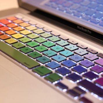 """Crocodil Graphics - Rainbow Keyboard Stickers for MacBook Pro 13, 15, 17 and MacBook Air 13"""" Decal Humor Art Protector"""