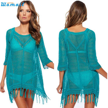 3 Colors Beach Lace Cover-Ups Female O-neck Tunic Sarong Beachwear Coverups Biquini Cover Up Women Swimsuit Bathing Suit Dec07