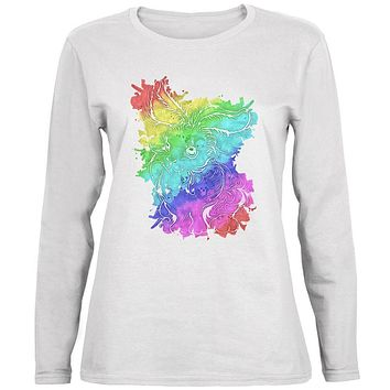 Rainbow Watercolor Easter Bunny Ladies' Relaxed Jersey Long-Sleeve Tee