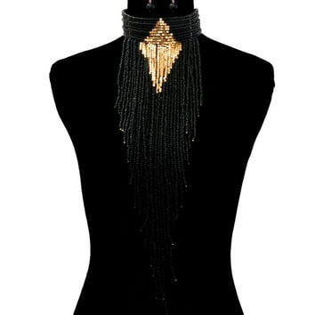 Gold BLACK BEADED DRAPE CHOKER Statement Necklace & Earrings Set Long CARNIVAL