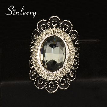 SINLEERY Vintage Gray Cubic Zircon Flower Big Rings For Women Antique Silver Color Wedding Engagement Jewelry Gift Jz028