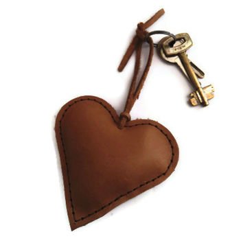 Leather Heart- Heart Keychain- Leather Keychain- Bag Decoration- Charm- Camel- Hand Stitched