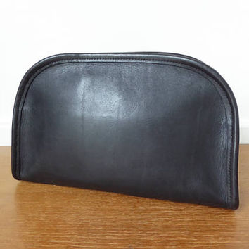 1970s Coach black leather toiletry bag with blue ticking stripe 10 x 6 x 3 inches