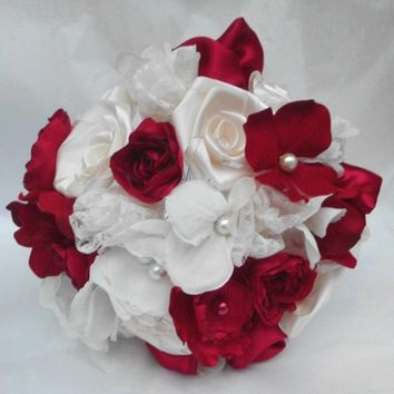 Fabric Flower Wedding Bouquet, Bridal, Custom, Vintage,Red, Ivory, Bridesmaids, Weddings, Rustic, Shabby Chic, Roses, Lace, Country, Pearls,