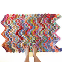 Crochet Rug - One of a Kind Zig Zag Colorful Rug Chevron Edge