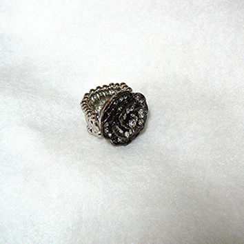 Black Rose With Rhinestones Cocktail Ring, Statement Ring, Stretch Band, Handmade