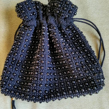 Vintage Black Beaded Satchel Evening Bag