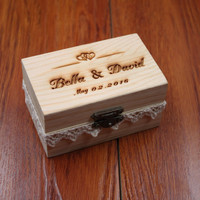 Rustic Wedding Ring Bearer Box, Personalized Wedding Ring Box