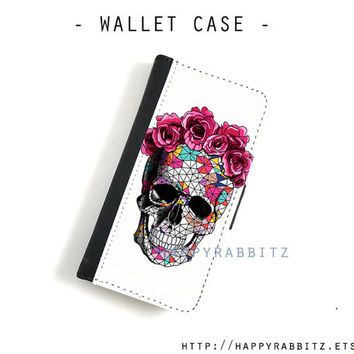 Sugar Skull Rose iphone 4 case leather , iphone 4s wallet case , iphone 4 wallet case , flip book iphone 4s cover , iphone case