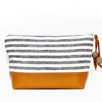 Nautical Stripe Travel Bag, Makeup Bag, Carryall