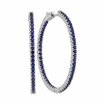 14kt White Gold Women's Round Blue Sapphire Inside Outside Hoop Earrings 3-3-4 Cttw - FREE Shipping (USA/CAN)