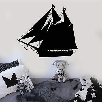 Vinyl Wall Decal Ship Yacht Children's Rooms Nautical Marine Sea Stickers Unique Gift (127ig)