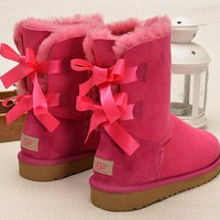Fashion Online Ugg Women Bow Wool Snow Boots Shoes