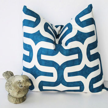 "PILLOW Decorative Pillow Cover ONE 20 inch Dark Turquoise and White MODERN Geometric 20"" Embrace by Premier Prints"