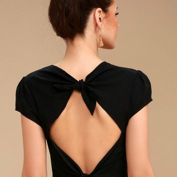 Isobel Black Tie-Back Crop Top