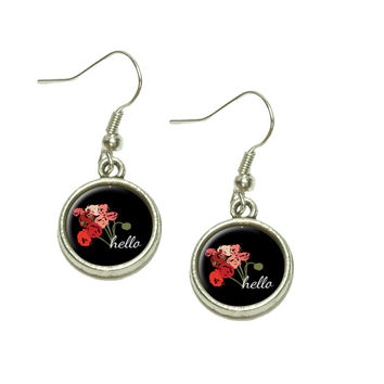 Hello Bouquet Flowers Ranunculus Dangle Drop Silver Charm Earrings