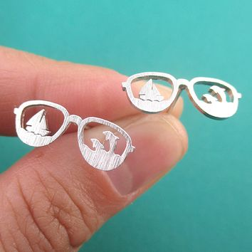 Sunglasses Shaped Travel Themed Sailboat and Dolphins Stud Earrings
