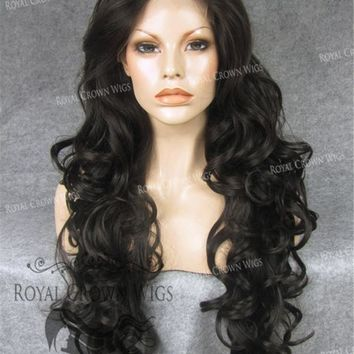 """26"""" Heat Safe Synthetic Lace Front in Curly Texture """"Calypso"""" in Dark/Medium Brown"""