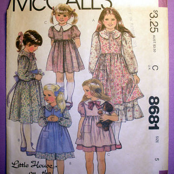 Girls Dress and Pinafore Girls's Size 5 McCall's 8681 Vintage Sewing Pattern Uncut