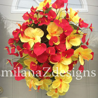 Tropical Flower Wreath, Summer Door Hanger, Red Call Lily, Yellow Deco Mesh, Bridal Shower Decor, Luau Party Decorations