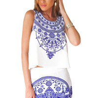White Vintage Blue and White Porcelain Sleeveless Mini Dress