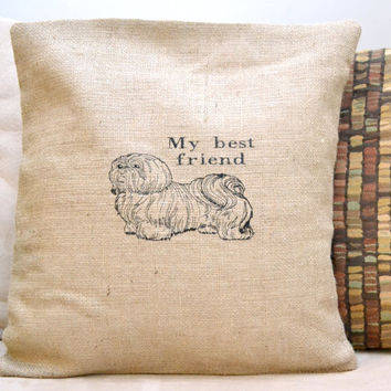 My Best Friend - Puppy Burlap Cushion Cover - Birthday Present-  Bridesmaid Gift - Mother's Day Gift - Just Because Gift - Easter GIft