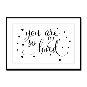 "Nursery art / decor - Canvas painting / Poster print - Free Shipping - Brush script quote ""You are so loved"""