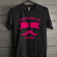 Partners In Crime Hipster Mustache Black T-shirt Size S-5XL