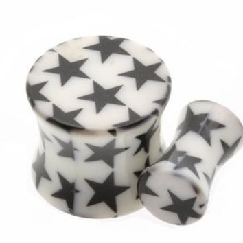 Pair Flesh Tunnel Ear Plug Flared Acrylic Small Stars Design Sold As a Pair 10mm (00 Gauge)