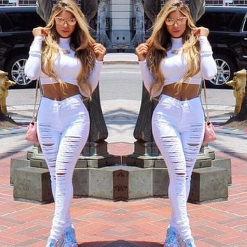 Copy of Sexy Big Holes Ripped Skinny High Waisted Jeans