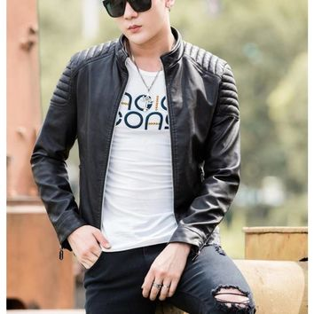 Mens Slim Fit Biker Faux Leather Jacket