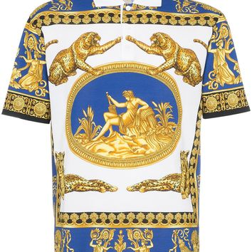 Gold Renaissance Polo Shirt by Versace