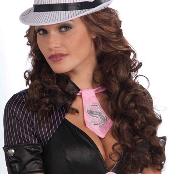 Ladies Pinstripe Fedora Hat White/Black