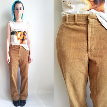 "70s Clothes / Vintage 1970s Corduroy Pants Camel Corduroy Pants Khaki Tan Light Brown Corduroy Slacks 32"" Waist"